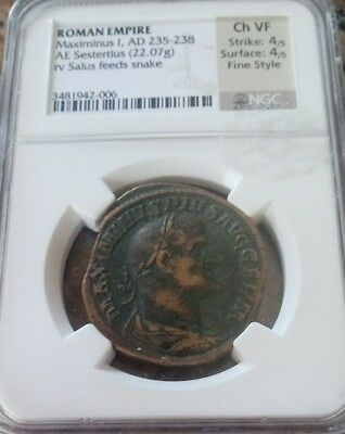 Roman Empire Maximinus I  Sestertius Fine Style NGC Choice VF 4/4 ancient coin