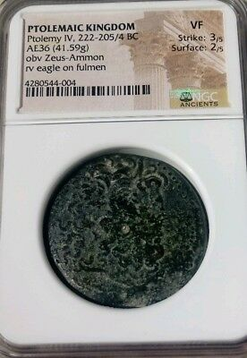 Ptolemaic Kingdom Ptolemy IV AE36 NGC VF 3/2 Ancient Zeus Coin