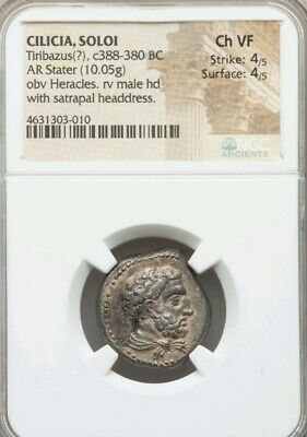 Cilicia, Soloi. Tiribazus Heracles Stater NGC Choice VF 4/4 Ancient Coin X-Rare!