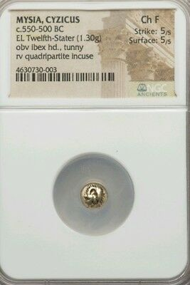 Mysia, Cyzicus 550 BC 1/12th Stater Ibex w/ Tunny NGC Choice F 5/5 ancient coin