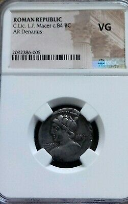 Roman Republic Licinius L.f. Macer Denarius NGC VG Ancient Silver Coin