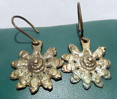 AMAZING ANTIQUE POST MEDIEVAL 15-16th.c.SILVER EARRINGS   # 364