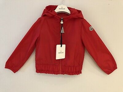 Girls Moncler Junior Age 6 Years Red Erina Rain Jacket Hooded BNWT RRP £165.00