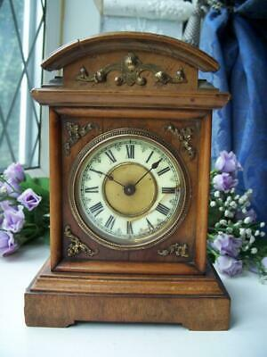 WONDERFUL MUSICAL BLACK FOREST? ANTIQUE MANTLE ALARM CLOCK c1900