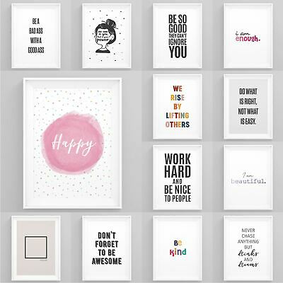 Motivational Posters Framed Quote Prints Inspirational Wall Artwork Home Décor