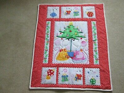 New Handmade Baby Quilt (Blanket)  - Christmas Mice
