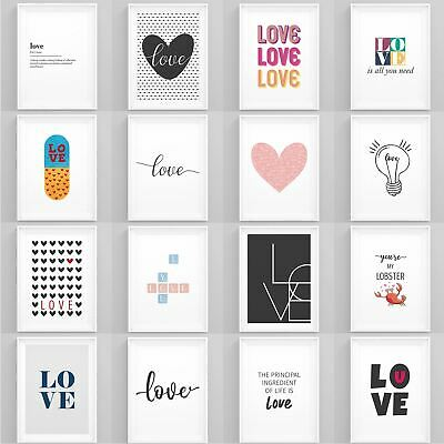 Love Art Print Framed Home Artwork Romantic Bedroom Posters Wall Art for Couples