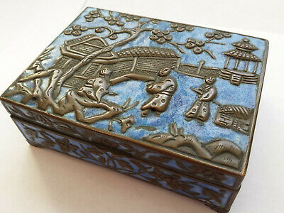 Antique Qing Chinese Export Enamel Copper Tobacco Cigarette Smoking Box Ashtrays