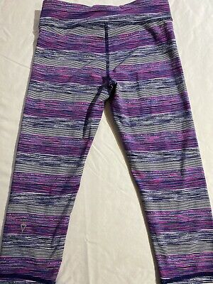Ivivva Girls Purple Striped Crop Leggings Size 12
