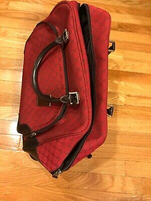 RALPH LAUREN Signature Jacquard Red Rolling Duffle Carry On / Luggage Bag - EUC