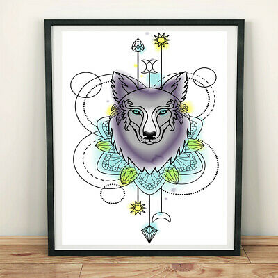 Abstract Wolf Head Totem Canvas Art Painting Poster Picture Home Bar Wall Decor