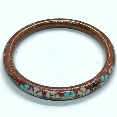Antique 1880's Chinese Cloisonné Bracelet Brass Enamel Jewelry Asian Old Red