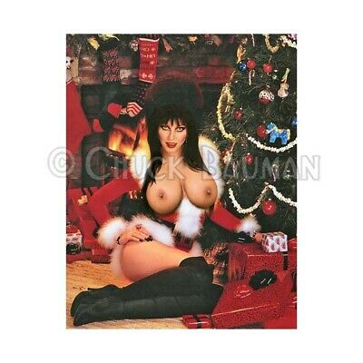 Fridge Magnet Elvira topless witch Christmas Santa Slut horror pin-up girl art