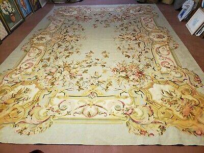 10' X 14' Magnificent Hand Made Wool Rug Aubusson Weave Savonnerie Flat Pile