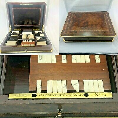 Gorgeous Antique French play Napoleon III Game Box Boulle Marquetry Sormani XIXe