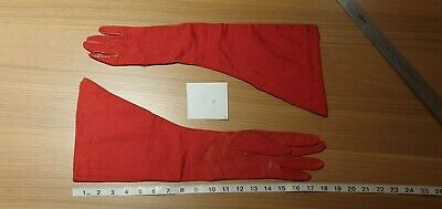 Gauntlet Style Gloves Red Leather and Nylon with Cream Satin Lining