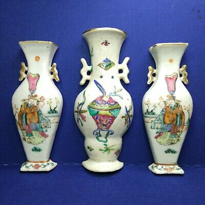 Three Antique Chinese porcelain wall vases,19th century.