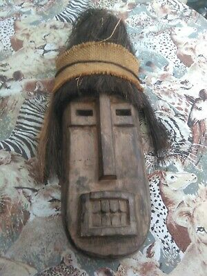 rare vintage  mask  face ethnic tribal wooden carved original collectable