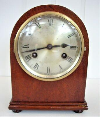 Antique Mahogany Dome Top Mantel Clock - Working Well
