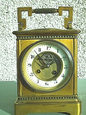 Rare Antique Large Brass Carriage Mantle  Clock Thermometer