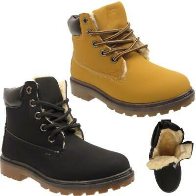 Kids Lace up Warm Fur Lined Winter Boys Girls Ankle Combat Hiking Boots Shoes UK