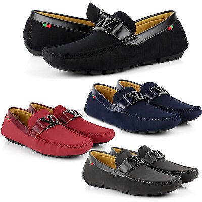 Mens Slip On Leather Loafers Driving Shoes Casual Smart Moccasin Size