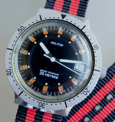 TIMEX-KELTON Oversize 38mm Diver style watch +++ Vintage 1970er Made in England