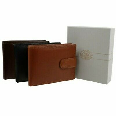 Mens Quality Soft Leather Tabbed Wallet by London Leather Goods Trifold Gift Box