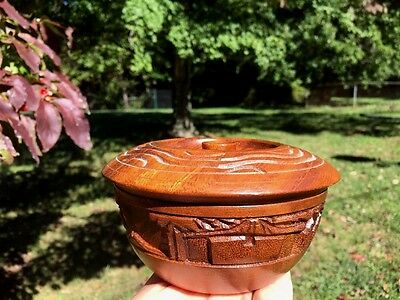 Antique Vintage Wooden hand carved round oval Trinket BOX Covered Dish Bowl