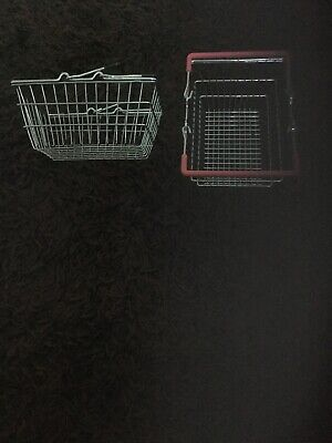 2x Mini Wire Shopping Basket Cupboard /desk Tidy Novelty Item Pink/ Black Handle