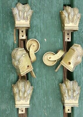 Vintage Poss Antique Reclaimed Lion Paw Claw Brass Casters Sofa Couch