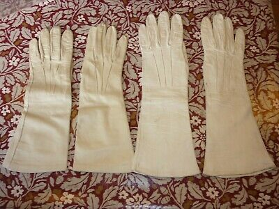 2 pairs vintage leather gloves white/cream
