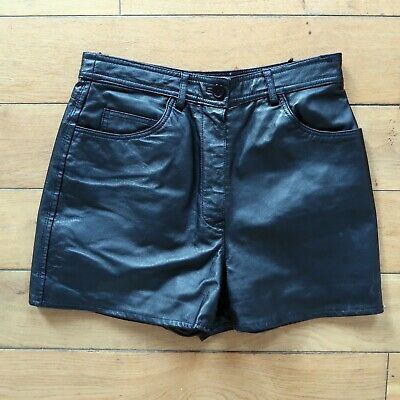 Vintage Black 100% Real Leather Shorts W26 W27 XS S UK 6 8 Goth 90s 80s