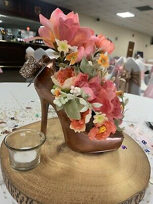 Table Centrepiece Rose Gold/Pink Shoe Wedding Flowers Birthday Event - Each