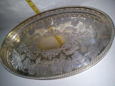 Vintage Sheffield Silver Plate Oval Chased Serving Gallery Tray Fantastic Piece