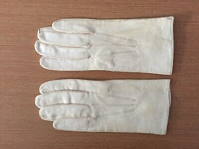 Vintage Cream Leather GLOVES size 7 - made in Belgium