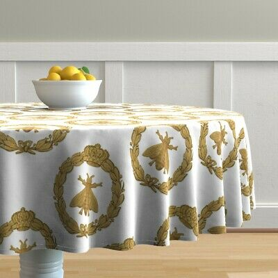 Round Tablecloth Napoleon French Bee Antique Gilt Classic Gold Cotton Sateen
