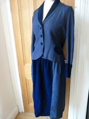 True Vintage1940's blue velvet and silk skirt and fitted jacket, suit, glam