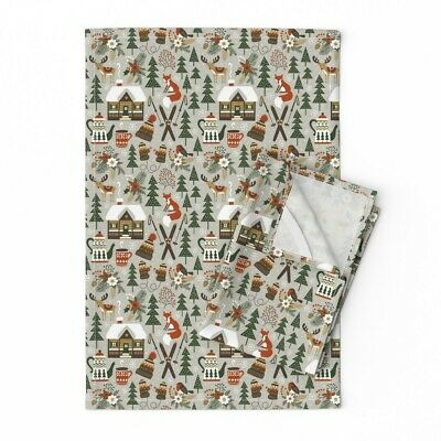 Winter Woodland Fox Deer Chalet Ski Linen Cotton Tea Towels by Roostery Set of 2