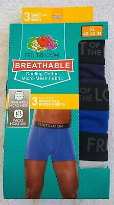 Fruit of the Loom Boxer Briefs Men's Breathable Tag Free Short Leg XL 3-Pack