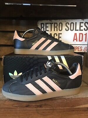 Adidas Originals Gazelle Trainers UK Size 7 Black Pink Leather BB0661