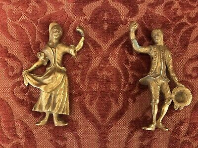 Rare Pair Of French Antique Cast Gilt Bronze Garniture Figural Ornaments