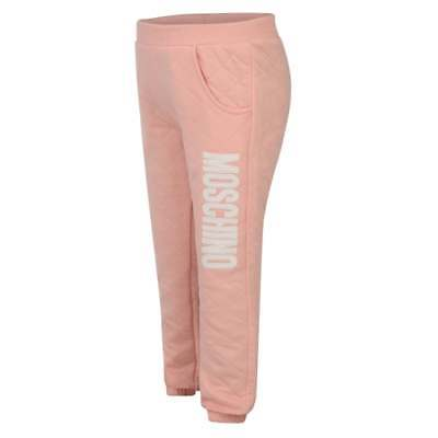 NEW Authentic Moschino Young Girl Peach Pink Quilted Tracksuit Jogger Pants 2