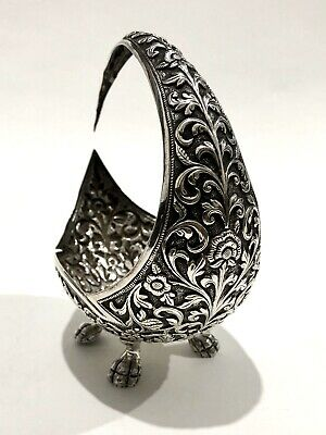Superb Quality Antique Persian Islamic Indian Kutch Solid Silver Crescent Bowl
