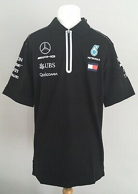 BNWT Mercedes AMG Petronas Official Motorsport Black Mens Polo Shirt Medium