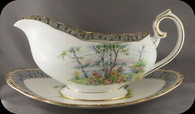Royal Albert Silver Birch Gravy Boat and Under Plate Old Style