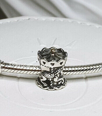 Authentic Pandora Sterling & 14kt Gold Merry Go Round Carousel Charm Gift Pouch