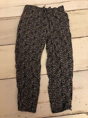Next Girls Trousers 7 Years 122cm Animal Print Elastic Comfy