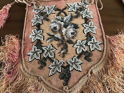 Antique Hand Embroidered Beaded pair Fringed Floral Pole Fire Screen Banners