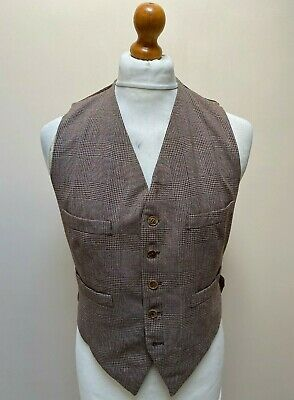 Vintage 1940's brown checked waistcoat size 42